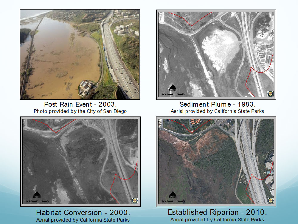 Examples of how rapid sedimentation and impoundment of flood waters impacts Los Peñasquitos Lagoon.  Photos by City of San Diego and State Parks.