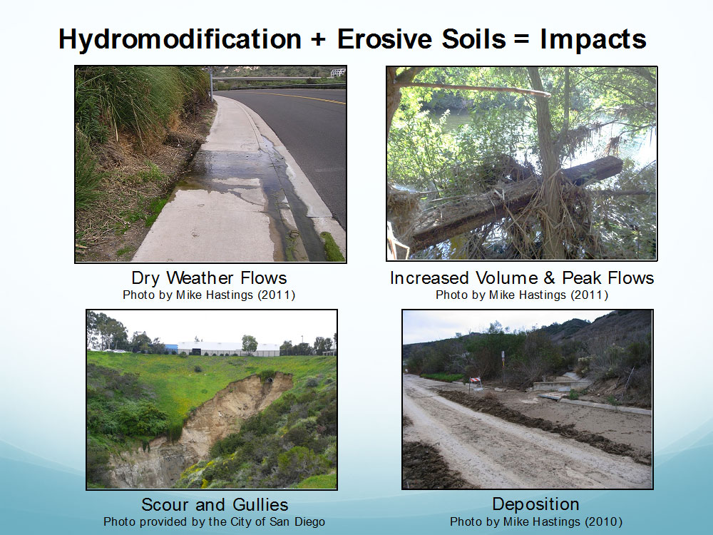 Examples of key drivers for the impairment of Los Peñasquitos Lagoon.  Photos by Mike Hastings and City of San Diego.