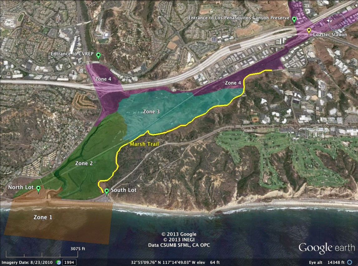 Marsh trail location and alignment in Los Peñasquitos Lagoon.  Graphic adapted from Google Earth.