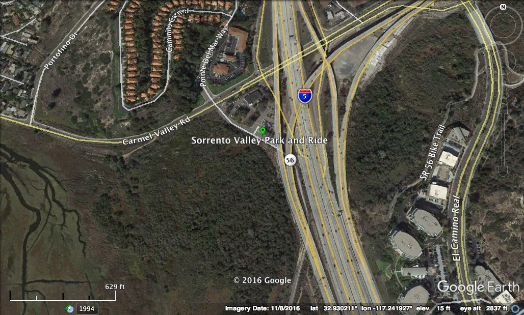 Click on this image for driving directions to the Sorrento Valley Park and Ride. Image by Google Earth.