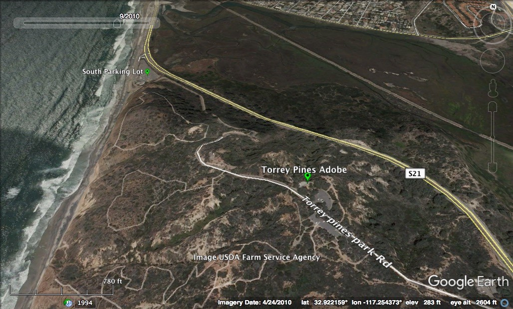 Click on this image for driving directions to the Torrey Pines Adobe. Image by Google Earth.