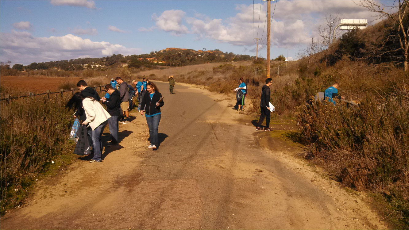 Volunteer trash and debris removal along Sorrento Valley Road Multi-Use Trail.  Photo by Mike Hastings.