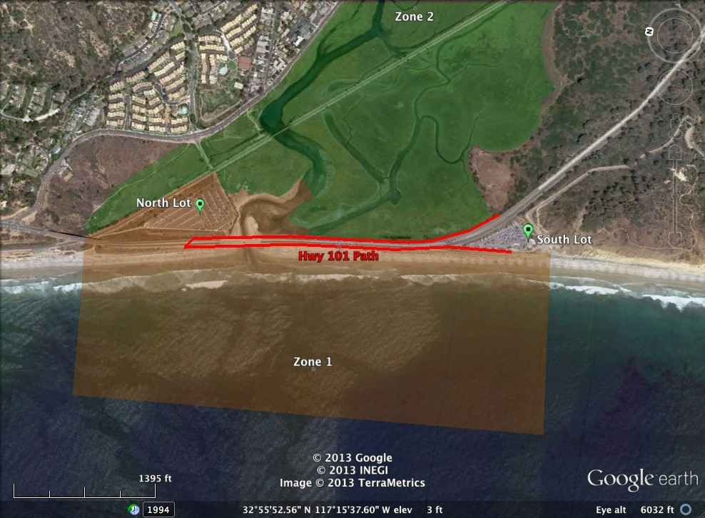 View of Highway 101 (N. Torrey Pines Rd) and parking lots.  Graphic adapted by Google Earth.