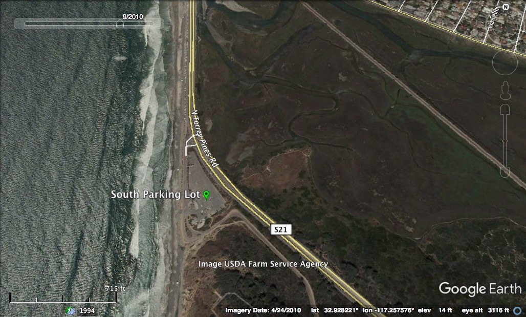Click on this image for driving directions to the South Parking Lot. Image by Google Earth.