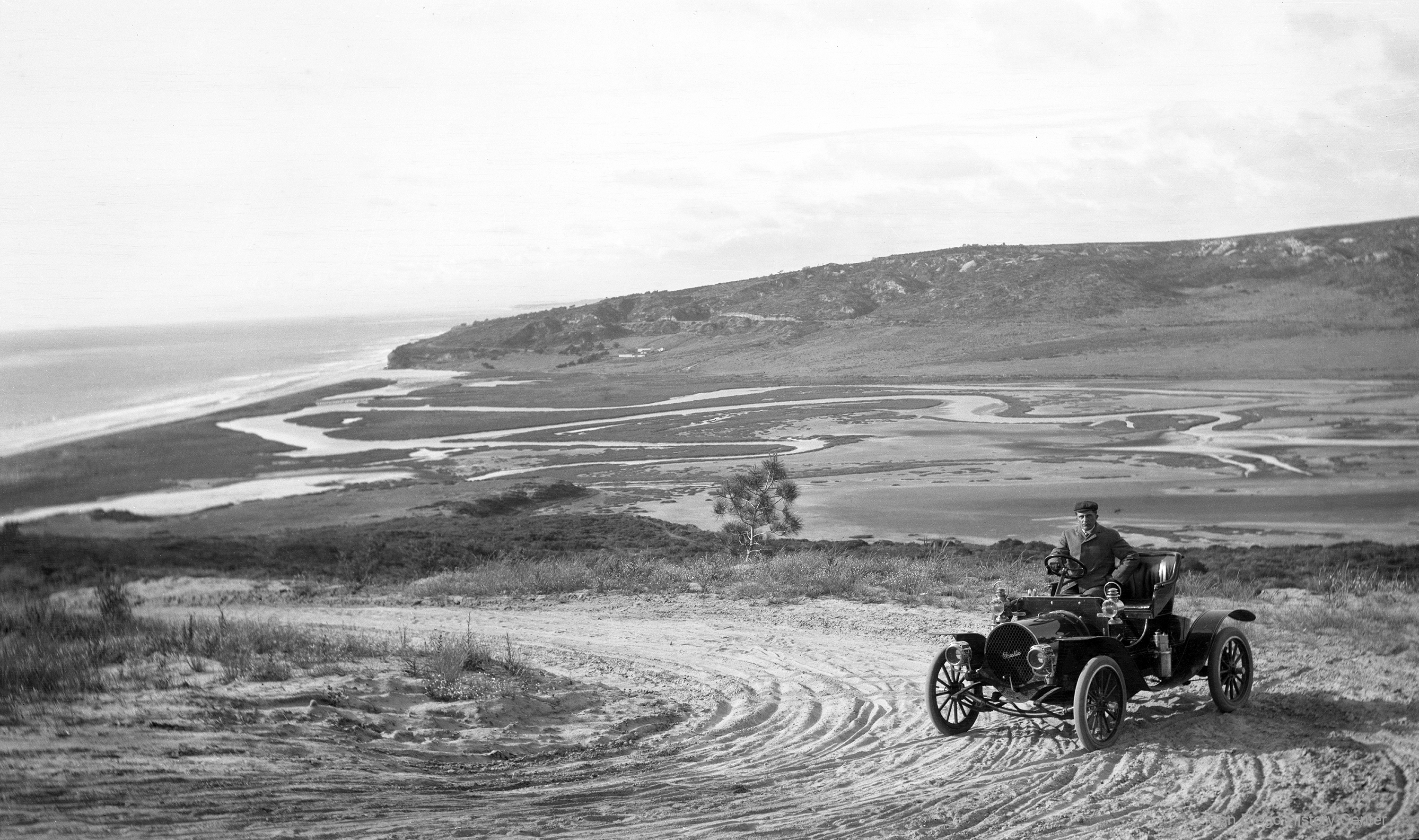 View of Los Peñasquitos Lagoon from the Torrey Grade circa 1903. Photo from San Diego History Center.